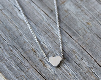 Dainty Heart Necklace, Tiny Heart Necklace, Silver Heart Necklace, Love Necklace, Minimalist necklace, Trendy silver necklace