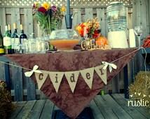 Hot Apple Cider Bar Banner, Fall Wedding, Thanksgiving Banner, Autumn, Fall, Rustic Wedding, Drink Station, Bar Sign