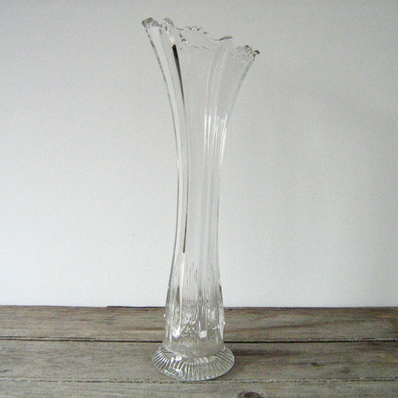 Antique Depression Glass Vase Tall Clear Glass Vase By Owsvintage