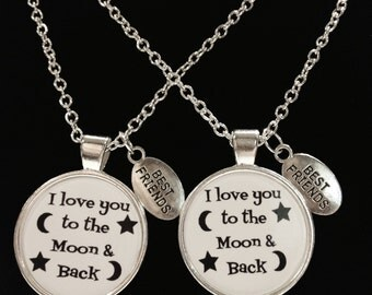 I Love You To The Moon & Back Quote Best Friends Couple's BFF Necklace Set