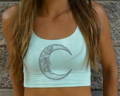 Moon Crop Top - Embroidered- American Apparel