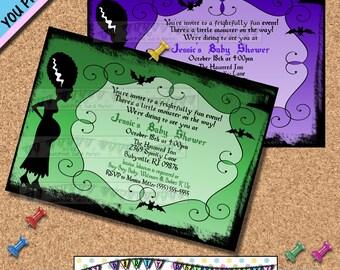 Halloween BABY SHOWER INVITATIONS Bride of Frankenstine Invites Halloween Horror Movies retro vintage monsters