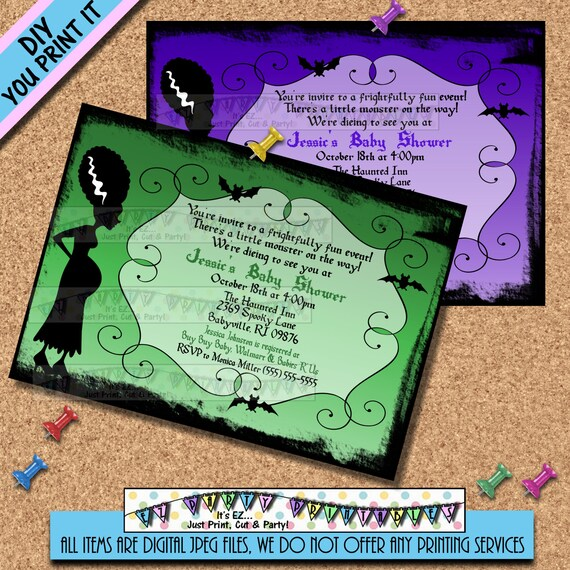 halloween baby shower invitations bride of frankenstine invites