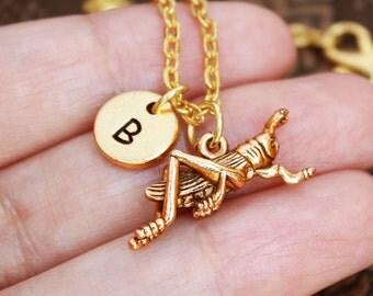 Grasshopper Necklace, Cricket Necklace Personalized Necklace, Engraved Necklace, Insect Necklace, Monogram Necklace, Gold Necklace