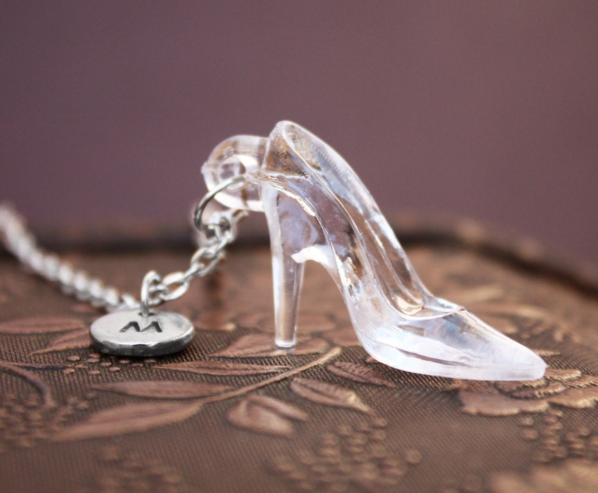 glass slipper necklace high heel necklace initial necklace