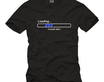 "Funny Computer Geek T-Shirt for Men with ""Loading Please Wait"" Print black/white/blue Size S-XXXL"