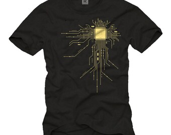 "Cool Computer Geek T-Shirt for Men with ""CPU"" Print black/yellow Size S-XXXL"