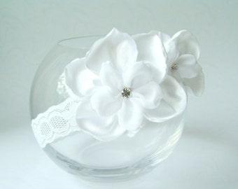 Flower girl headband Christening orchid headband Wedding women headband Floral Headband White headband Handmade Headband