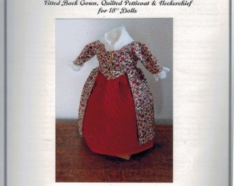 SALE COMPLETE KIT for 18 Inch Historical Doll 18th 19th Century Fitted Back Gown Quilted Petticoat Dress Felicity American Girl Past Crafts