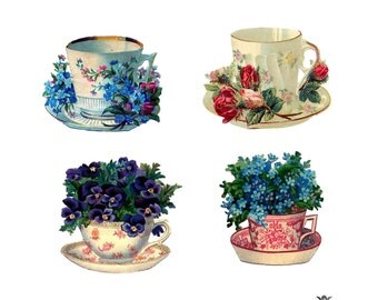 4 Pretty Vintage Tea cups with flowers Wickedly Lovely Skin art  temporary  tattoos
