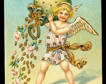 ASB Angel with Sack New Years 1908 Postcard