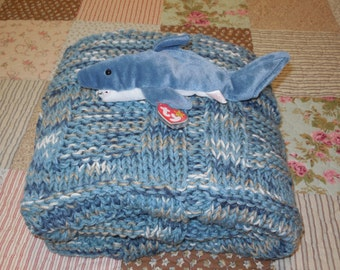 Sea Blue Hand Knitted Baby Blanket