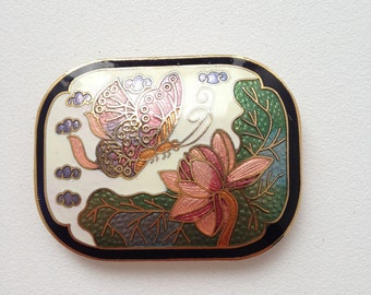 Vintage Cloisonne BUTTERFLY and FLOWER Scarf Clip Pull Enamel Gold Tone