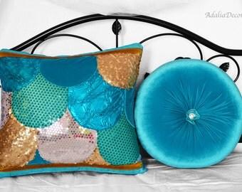 Mermaid Pillow Cover & Round  Velvet Pillow Set. Art.