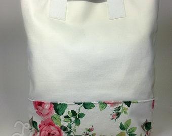 BIG SALE, Canvas Tote Bag, Flowers, Tote Bag,Women's Bag, Shoulder Bag, Floral Tote Bag,Rose Flower Tote, White Tote, Beach Bag, White Purse