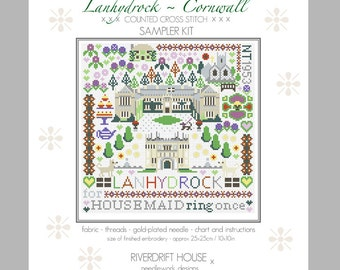 LANHYDROCK CORNWALL Counted Cross Stitch Sampler Kit by Riverdrift House
