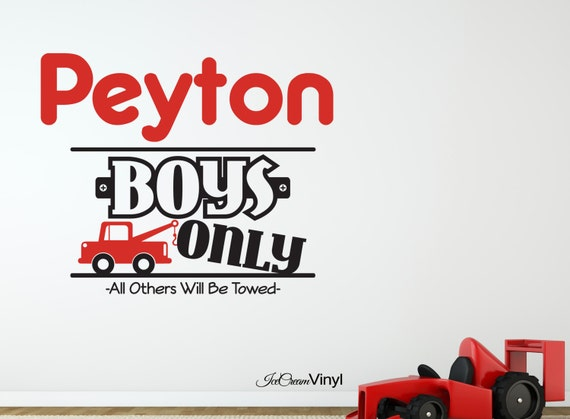 Name Wall Decal Boys Only Truck Wall Decal with Name for Playroom Bedroom Nursery Vinyl
