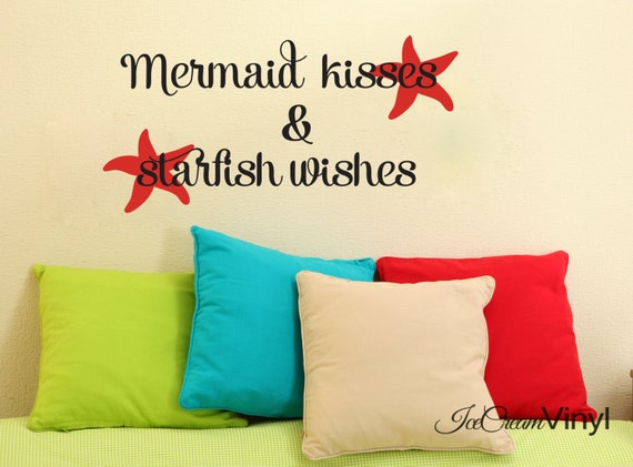 Mermaid Kisses and Starfish Wishes Wall Decal for Nursery Playroom Bedroom