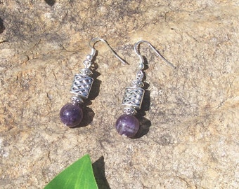 Viking Earrings - Magical Amethyst Inspired Celtic Knot Jewelry - Viking Jewelry