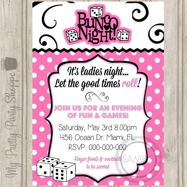 Bunco Night Ladies Night Party Invitation