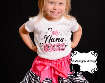 My Nana Rocks - Any Name! Grandma, Mimi, etc. Girls zebra applique shirt & matching hair bow set