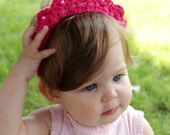 Baby Headband, Crochet Tiara, Crochet Crown, Baby Tiara Headband, Toddler Tiara, Baby GIrl Crown, Crochet Headband