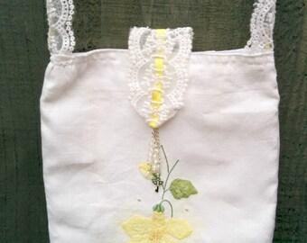 Vintage applique flower linen cross body hiporshoulder bag; upcycled repurposed linen, ribbon threaded lace strap, crystal decorations