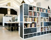 MF21-494/double-sided Bookcase Line in brushed fir wood, Matt White lacquered and metal details handmade