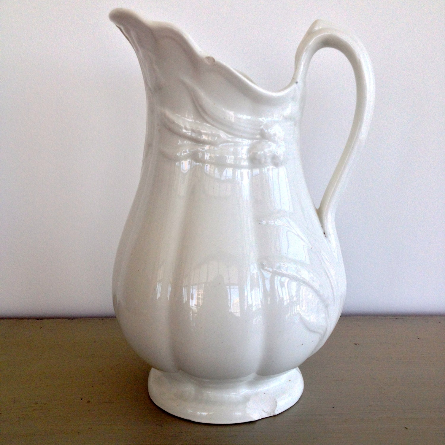 Antique White Ironstone Clementson Bros Pitcher