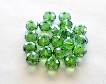Faceted Green Crystal  Rondell Beads, Green Crystal,  Crystal Beads,  7x10mm, 10 beads