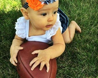 Cincinnati Bengals inspired Headband, Orange and Black, shabby flower, NFL, Football