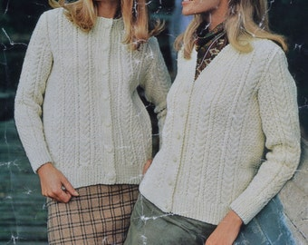 PDF Womens aran cable cardigan sizes 34 inch to 40 inch vintage knitting pattern pdf download pattern only pdf 1980s