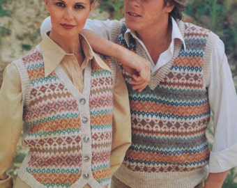 Vintage knitting pattern fair isle waistcoat pullover slip over pdf download pattern only pdf 1970s