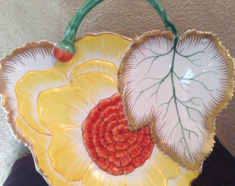 Mottahedeh Flower& Leaf Dish,Flower Bud, Trimmed In Gold,Italy,CandyDish,GreenStem,Yellow Flower,OrangeCenter,Collector,Vintage,Flower Leaf