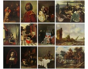 Dutch Painting, Set of 12 postcards, Art, XVII century, Museum,  Landscape, Print, Unused Postcard, Soviet Vintage Postcard, USSR,1961