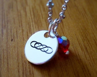 Revenge Inspired Necklace. Double infinity symbol. Hand stamped silver colored with a Swarovski Elements crystal. *