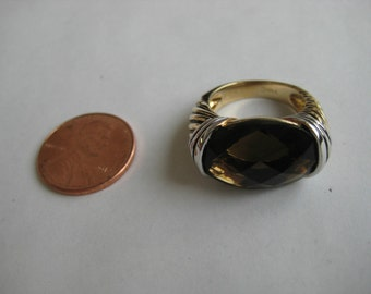 2 tone brown Gemstone vintage sterling silver Ring size 5.5