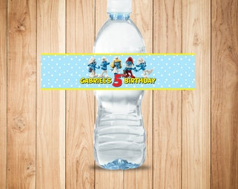 Personalized Smurfs water bottle label - Smurfs theme birthday water bottle label - Smurf birthday party favor