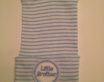 Little Brother Hospital Hat - Newborn Boy Hospital Hat - Baby Boy Hospital Hat -  Little Brother Hat