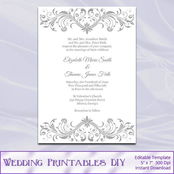 Gray Wedding Invitation Template Diy Printable Silver Bridal - Wedding invitation templates: silver wedding invitations templates