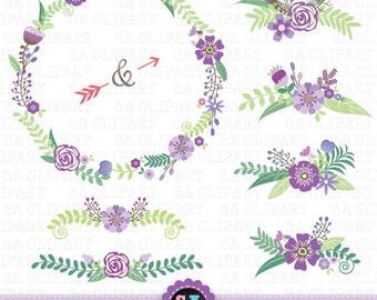 Wedding Clipart WEDDING FLORAL Clip Art Pack Vintage FlowersFloral FramesWreath