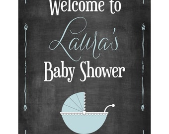 Chalkboard Baby Shower Sign: Printable Blue, Pink or Gender Neutral Welcome Sign (Customizable and Print it Yourself)