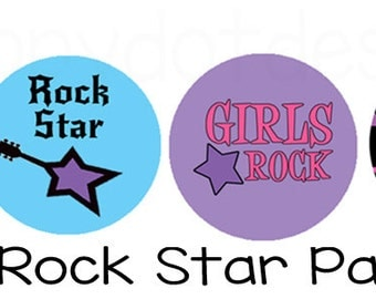 Printable Girl Rockstar Birthday Party Cupcake Toppers
