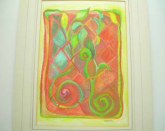 Pastel Pencil, Works on Paper, Symphony in Warm Reds, Modern Art, Orange, Vermilion, Yellow, Grass Green, Turquoise, Fine Art, Original Art