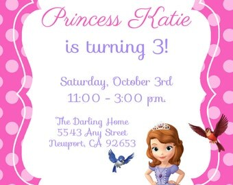 Sofia the First Invitation Kid's Birthday Party Invite Birthday Invitation