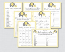 Elephant Baby Shower Games Package in Yellow and Gray - Seven Printable Games: Bingo, Price is Right, etc - Instant Download - 0024-Y