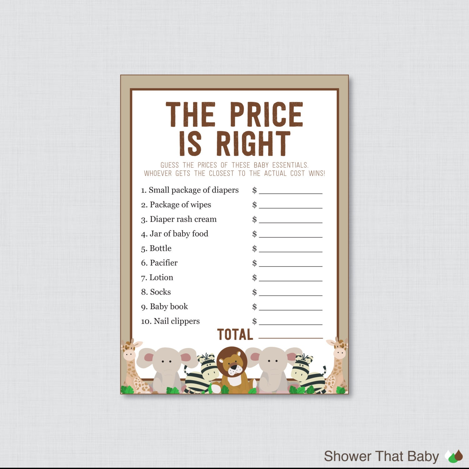 safari baby shower price is right game printable instant