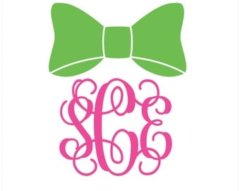 Bow Monogram Vinyl Decal Icon - 2 color - Choose from 14 colors in various sizes and fonts
