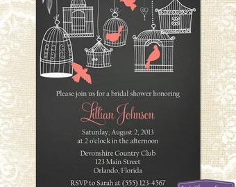 Coral Bridal Shower Invitation - Hanging Bird Cage Bridal Shower Invite - Birds Chalkboard Wedding Shower Invitation - 1147 PRINTABLE