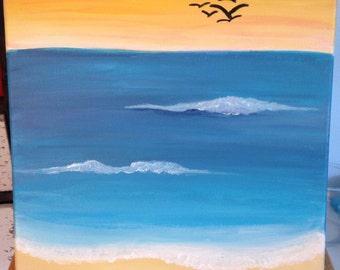 "11 x 14 ""Sunset Beach"" acrylic painting"